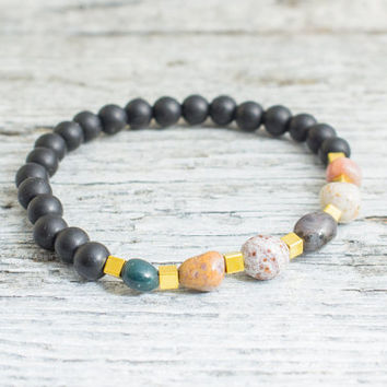 Matte black onyx & free form indian agate beaded stretchy bracelet, made to order yoga bracelet, mens bracelet, womens bracelet