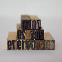 Vintage Letter Press Wood Type Set of 10 by designhousevintage