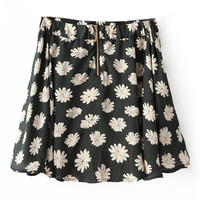 ROMWE Floral Print Zippered Army-green Skirt
