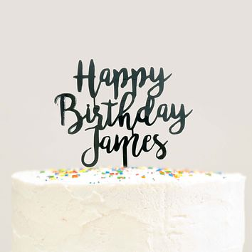 Modern Cursive Custom Personalized Name Happy Birthday Cake Topper Black Acrylic Laser Cut