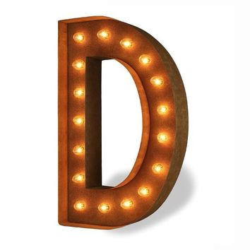 "24"" Letter D Lighted Vintage Marquee Letters (Modern Font/Rustic)"
