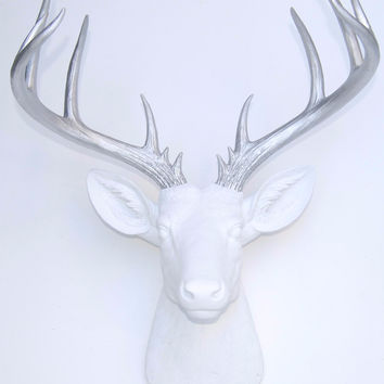 Deer Head - Large 14 Point Stag - White and Silver Wall Mount