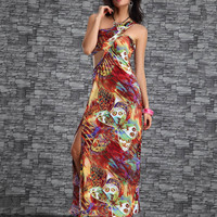 Red Butterfly Print Half Sleeve with Side Slit Maxi Dress