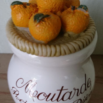 Vintage French Porcelain Mustard Jar, Porcelaine pot à moutarde, Moutard Reine de Dijon, Basket of apples on lid, Revol Porcelain France