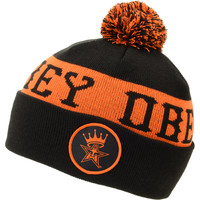 Obey Crowned Black & Orange Pom Fold Beanie at Zumiez : PDP
