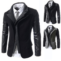 Leather Sleeve Designer Men's Wool Blazer Jacket