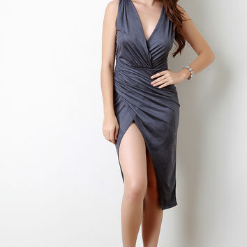 Suede Surplice Sleeveless Ruched Side Dress