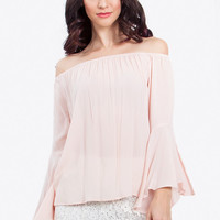 Off the Shoulder Bell Sleeves Top - Pale Pink