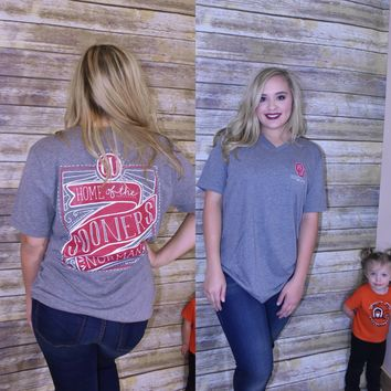 OU Calamity Jane Home of the Sooners canvas t-shirt