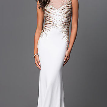 Beaded Floor Length Open Back Dress by Elizabeth K