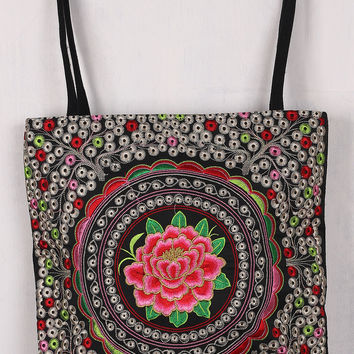 Floral Embroidery Canvas Tote Bag