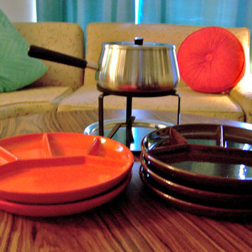 Orange and Brown Mid Century Vintage West Germany Gerz Fondue Plates Sushi Plates Divided Plates Raclette Plates