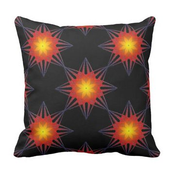 Burnt Orange Black Yellow Star Flower Throw Pillow