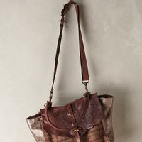 Campomaggi Rugged Plaid Satchel Brown One Size Bags