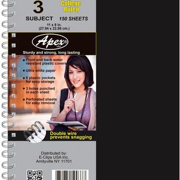 3 Subject Poly Notebook - College Ruled - CASE OF 24