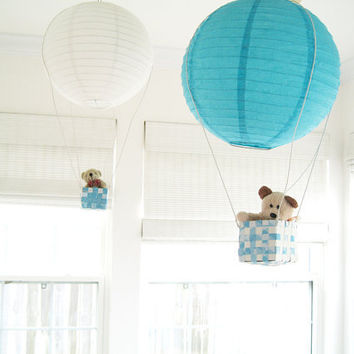 2 Hot Air Balloon Mobile hot air balloon Blue by SimplyChicLily