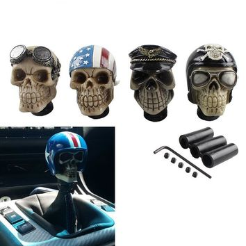Car Modification Gear Shift Knob Devil Head Knob Modified Resin Knob Soldier Skull With Hat And Glasses