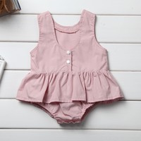 Pudcoco Newborn Toddler Baby Girl Clothes Pink Cotton Bodysuit Jumpsuit Outfit Set
