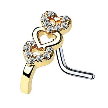 BodyJ4You 20G (0.8mm) Nose Ring L-Shape Stud CZ Paved Heart Pin Surgical Steel Gold Nostril Jewelry