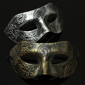 1PC Retro Men halloween Burnished Antique Silver Gold Venetian Mardi Gras Masquerade Party Ball Mask