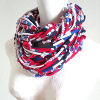 Red White Blue Infinity Scarf Patriotic USA Team Colors New England Patriots Buffalo Bills Houston Texans Winter Accessories