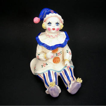 Lefton Musical Clown Figurine - Plays Send in the Clowns - Vintage 1983 Collectible Ceramic Musicbox - Blonde Blue Eyes Girl Clown -Works