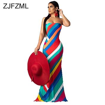 Colorful Striped Print Summer Dress 2019 Women Lace Up Backless Off Shoulder Beach Dress  Vintage Strapless Maxi Bohemian Dress