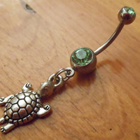Belly button ring  turtle belly button ring by ChelseaJewels