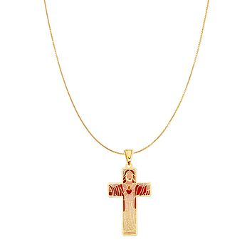 Stained Glass Cross Pendant - 14K Solid Yellow Gold