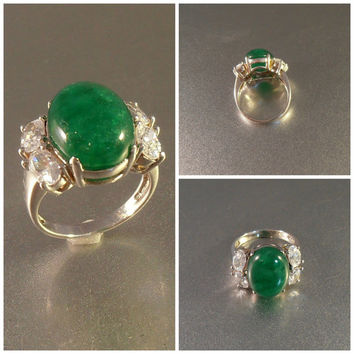 Sterling Chrysoprase Ring Faux Diamond, Art Deco Style Jade Cocktail Statement Ring, Gift For Her, Size 8