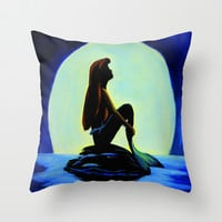 Mermaid in the moonlight Throw Pillow by Maggs326