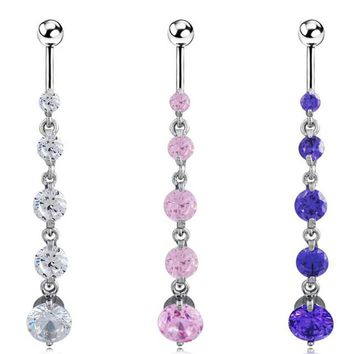 Beach Sexy Gold Filled Clear Crystal Zircon Dangle long Belly Button Rings For Female Dance Piercing Body Jewelry New Year