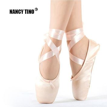 NANCY TINO Adult Pink and Red Ballet Pointe Dance Shoes for Women Kids Toddler Ballet Flats Dancing Shoe for Little Girls Womens