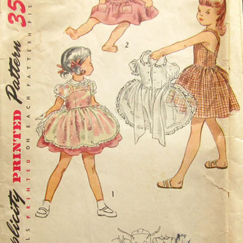 Simplicity 3528 Sewing Pattern Vintage Retro 50s Toddler Girls Sundress Pinafore Dress Rockabilly Swing Style Size 6