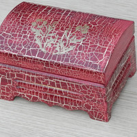 item no:143 Hand painted wooden unique jewelry box, keepsake box, memory storage box with burgundy crocodile effected.
