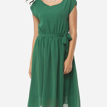Casual Plain Bowknot Chic Round Neck Skater-dress