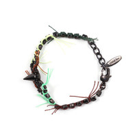 Electric Dream Crystal & Spike Bracelet W/ Thread Details - Jet/ Sunflower/ Green Yellow Multi