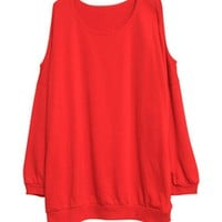 Red Oversized Sweatshirt with Cut Out Shoulders