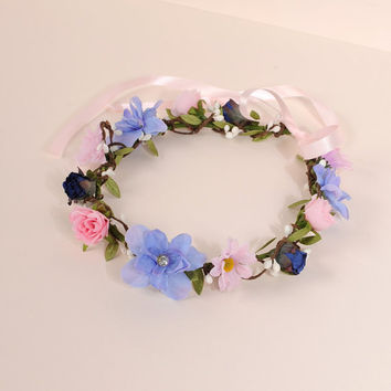 Spring Flower Crown, Wedding Headband, Woodland Wreath, Wildflower Headpiece, Bridal Head Wreath, Pink Daisy Hair Piece, Floral Circlet