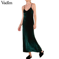 women V-neck velvet spaghetti strap maxi dress vintage sleeveless solid ladies autumn one piece long dresses vestidos