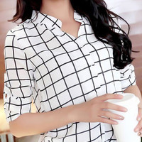 White Linear Pattern Roll Up Sleeve Chiffon Blouse