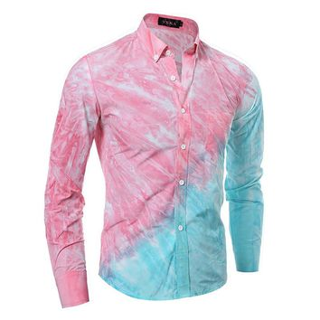 2016 New High Quality 3D Tie Dye Printing Oblique Splicing Mens Long Sleeve Shirt