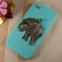 bronze crystal elephant brass locket pendant on iphone case ,blue case for iPhone 4 Case, iPhone 4s Case, iPhone 4 Hard Case fashion