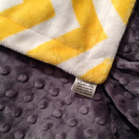 Yellow Chevron Minky Blanket Grey Minky Dot Back  Toddler /Lap Blanket Size 40 x 50