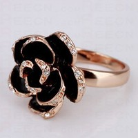 Black Rose Diamond Gilded Ring - Diamond Rings - Rings - Jewelry