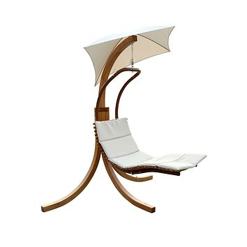 Modern Porch Swing Lounger Chair with Umbrella and Cushion