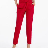 High Waisted Sash Waist Ankle Pant