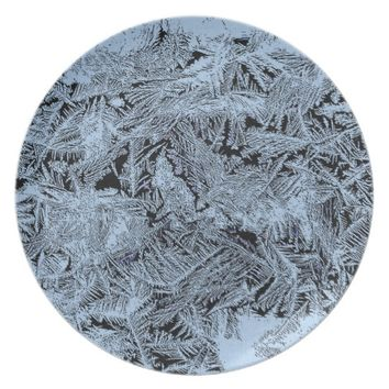 Frosty forest light blue pattern abstract design melamine plate