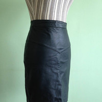 Black Leather Skirt, High Waisted Pencil Skirt, Above The Knee Sexy Secretary Skirt, Goth Mini Skirt, Rocker Biker Cocktail  Skirt, Size S