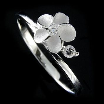 STERLING SILVER 925 HAWAIIAN 7.5MM SINGLE PLUMERIA FLOWER RING CZ SIZE 3-10